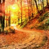 Les travaux dans le style de la peinture d'aquarelle Autumn Alley Photo stock