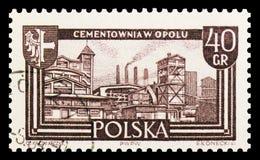Les travaux de ciment, Opole, ont récupéré le serie de territoires, vers 1961 photo libre de droits