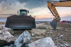 Les travaux de construction de la rocade du capital de Ségovie, axe fondamental transportent par voie de terre entre Madrid et Va photos stock