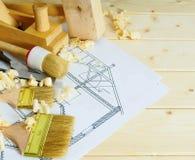 Les travaux du menuisier Dessins pour construire et travailler Images stock