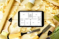 Les travaux du menuisier woodworking Tablette, dessins et Images stock