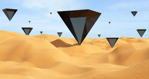 Les triangles noires dans le désert 3D rendent Photo stock