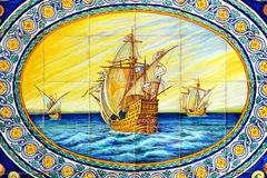 Les trois caravelles de Christopher Columbus, La Rabida, province de Huelva, Espagne Images stock
