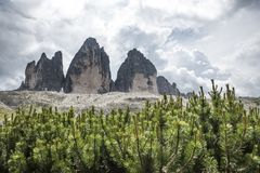Les trois crêtes de Lavaredo, Italie Crêtes célèbres de l'Italien Photo libre de droits