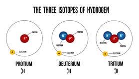 Les trois isotopes de l'hydrogène illustration libre de droits