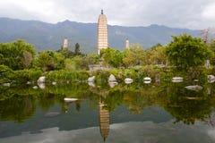 Les trois pagodas - Dali - Chine Image stock