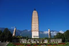 Les trois pagodas du temple de chongsheng Photographie stock libre de droits