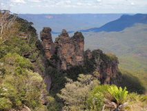 Les trois soeurs, montagnes bleues, Australie Photographie stock