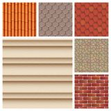 Les tuiles de toit de la texture et du détail classiques logent l'illustration matérielle de vecteur de modèle sans couture Photographie stock libre de droits