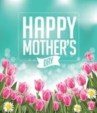 Les tulipes heureuses de jour de mères conçoivent le vecteur d'ENV 10 Photographie stock libre de droits