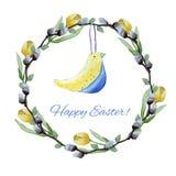 Les tulipes jaunes d'oiseau et de chat-saule de jouet tressent illustration libre de droits