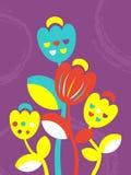 Les tulipes mignonnes fleurissent la rétro carte dans le style ethnique naïf illustration de vecteur