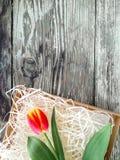 Les tulipes se rassemblent sur le fond en bois de planches de grange foncée Photos libres de droits