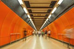 Les tunnels de souterrain, tache floue de mouvement Hon Kong photos libres de droits