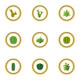 Les types d'icônes de cactus ont placé, style de bande dessinée Photos libres de droits