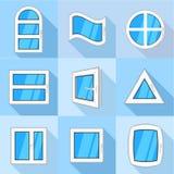 Les types d'icônes de fenêtre ont placé, style plat illustration libre de droits