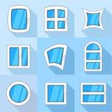 Les types d'icônes de tissu pour rideaux ont placé, style plat Illustration de Vecteur