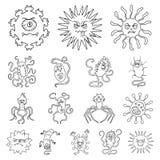 Les types de microbes drôles décrivent des icônes dans la collection d'ensemble illustration de vecteur
