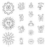 Les types de microbes drôles décrivent des icônes dans la collection d'ensemble pour la conception Web pathogène d'actions de sym illustration de vecteur