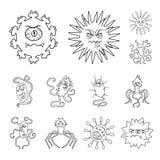 Les types de microbes drôles décrivent des icônes dans la collection d'ensemble pour la conception Web pathogène d'actions de sym illustration libre de droits