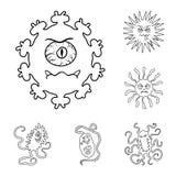 Les types de microbes drôles décrivent des icônes dans la collection d'ensemble pour la conception Web pathogène d'actions de sym illustration stock