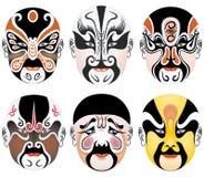 Les types de renivellement facial dans l'opéra de Pékin ont placé neuf Photos stock