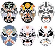 Les types de renivellement facial dans l'opéra de Pékin ont placé quatre Photo libre de droits