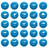 Les types icônes signées de dinosaure de nom ont placé le style bleu et simple Illustration Libre de Droits