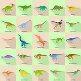 Les types icônes signées de dinosaure de nom ont placé, style plat Illustration de Vecteur