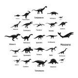 Les types icônes signées de dinosaure de nom ont placé, style simple Illustration de Vecteur