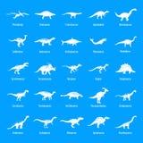 Les types icônes signées de dinosaure de nom ont placé, style simple Illustration Libre de Droits