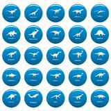 Les types icônes signées de dinosaure de vecteur de nom ont placé le style bleu et simple Illustration Libre de Droits