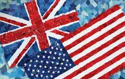 Les USA et drapeaux nationaux BRITANNIQUES Photo libre de droits