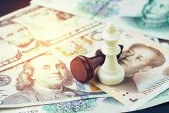 Les USA et la Chine financent le concept de guerre commerciale de tarif, le perdant noir et le W photographie stock libre de droits
