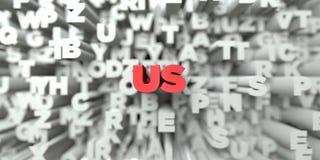 LES USA - Texte rouge sur le fond de typographie - image courante gratuite de redevance rendue par 3D Images libres de droits