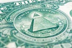 Les USA un macro de plan rapproché de billet d'un dollar, 1 USD de billet de banque Images libres de droits