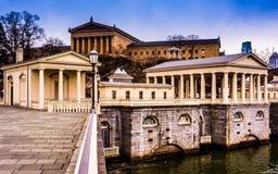 Les usines hydrauliques et le Musée d'Art de Fairmount à Philadelphie, stylo Photo stock