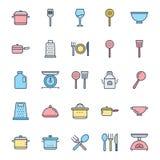 Les ustensiles de cuisine ont isolé l'ensemble d'icône de vecteur peuvent être facilement modifiés ou édités illustration de vecteur