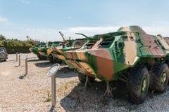 Les véhicules blindés militaires se trouvent sur le chantier commémoratif près du musée blindé de corps dans Latrun, Israël images libres de droits