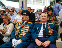Les vétérans de la deuxième guerre mondiale à la célébration de la 9ème peuvent Photo libre de droits
