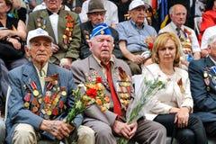 Les vétérans de la deuxième guerre mondiale à la célébration de la 9ème peuvent Images libres de droits