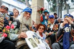 Les vétérans de la deuxième guerre mondiale à la célébration de la 9ème peuvent Image libre de droits