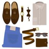 Les vêtements des hommes réglés Icônes plates de vecteur image stock