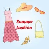 Les vêtements ont placé la mode d'été Images stock