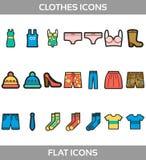 Les vêtements simples etles achats d'ofd'ensemble dirigent l'appartement avec des icônes d'ensemble Contient le T-shirtd'as Image libre de droits