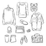 Les vêtements tirés par la main de femmes à la mode de vecteur Image libre de droits