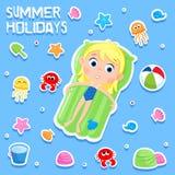 Les vacances d'été - autocollant adorable placez - échouent des éléments de partie Images libres de droits