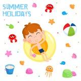 Les vacances d'été - autocollant adorable placez - échouent la partie Photographie stock