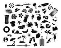 Les vacances de plage d'heure d'été voyagent des éléments de conception, silhouettes de décoration illustration libre de droits