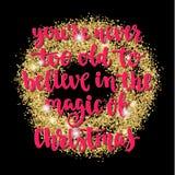 Les vacances de salutation de Noël et de bonne année remettent la carte de lettrage Photo libre de droits
